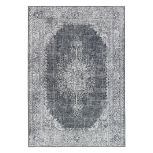 Vintage vloerkleed medaillon grijs