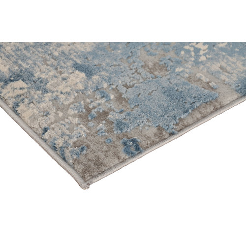Modern vloerkleed in grijs en blauw