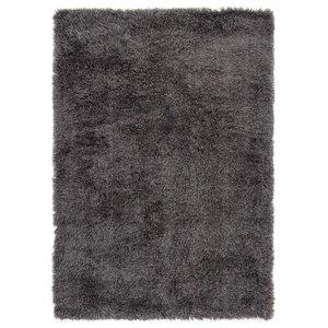 Hoogpolig vloerkleed in polyester mix  donkergrijs