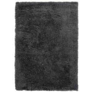 Hoogpolig vloerkleed in polyester mix  antraciet