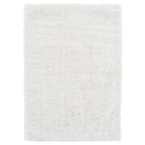 Hoogpolig vloerkleed in polyester mix  wit