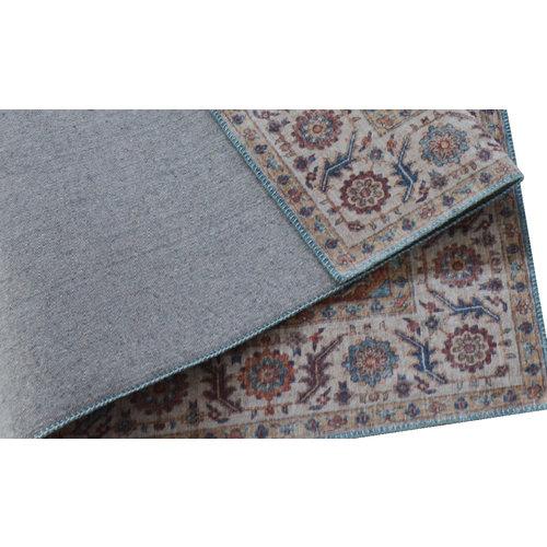 Vintage vloerkleed met medaillon, bedrukt, blauw