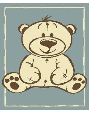 Vloerkleed voor kinderen met beer blauw