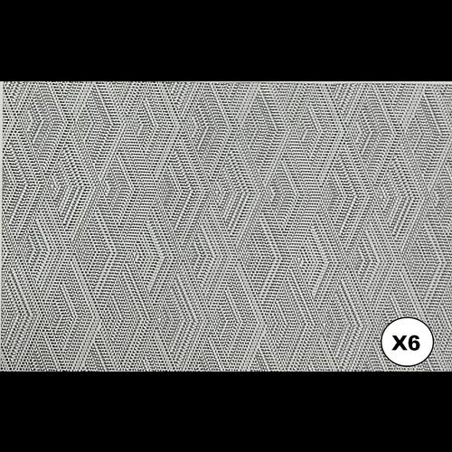 Set van 6 stuks , placemat, dessin in zwarte en grijze tinten