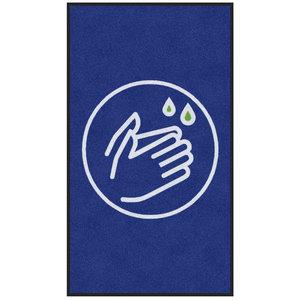 Professionele COVID droogloopmat voor binnen, symbool handen wassen