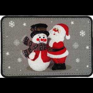 Kerstmat grijs met sneeuwman