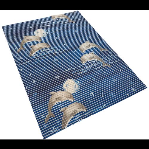 Antislipmat op maat, dolfijnen blauw