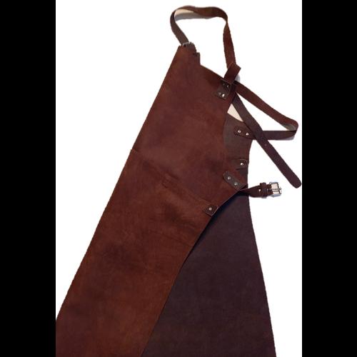 Lederen BBQ schort, bruin