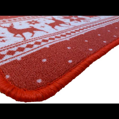 Kerstmat rood met rendieren