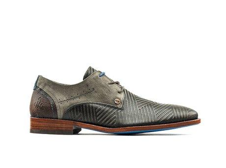 Dunkel Graue Business Schuhe Solo Zig Zag