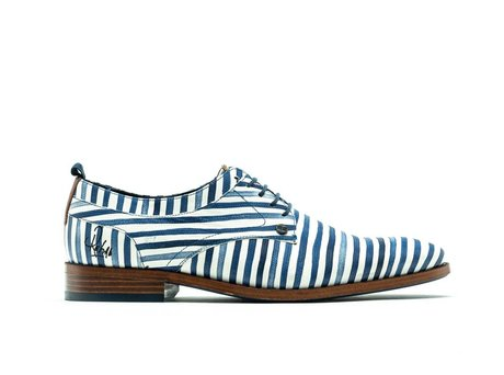 REHAB BRAD STRIPES LIZARD WHITE-BLUE