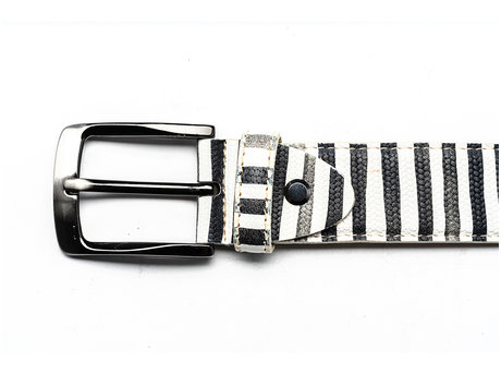 REHAB BELT STRIPES LIZ WHITE-GREY