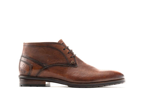 Cain Lthr | Halfhoge cognac nette schoenen