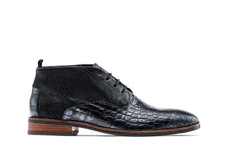 Fredo Crc Met   Hoge zwarte nette schoenen