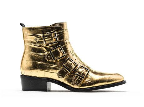 Ruby Croco Met | Gouden boots