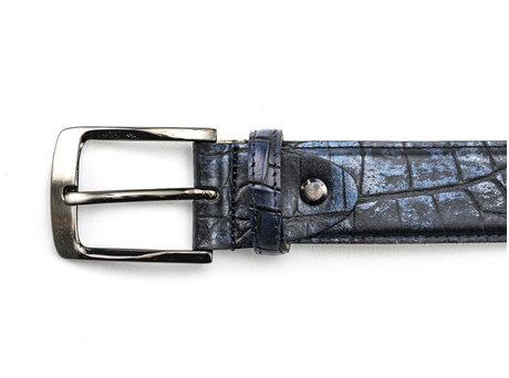 Belt Croco Met 420 Dark Blue