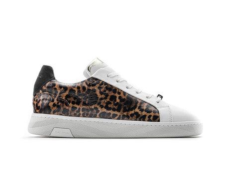 Ziya Leopard | Wit-bruine sneaker