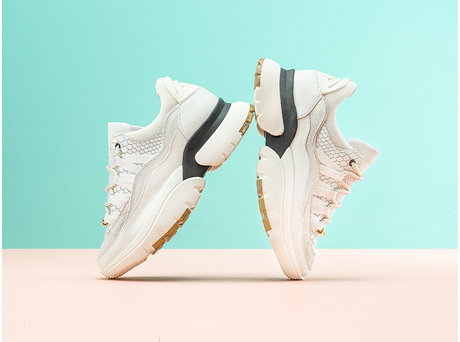 Sylvia Snake | Witte chunky sneakers