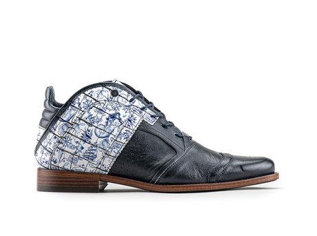 Kurt II Fred Tattoo | Midhoge wit-blauwe schoenen