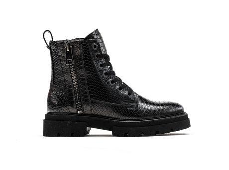 Kizz Snk | Donkerbruine-zwarte boots