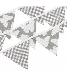 Vlaggenlijn grijs met vlinders