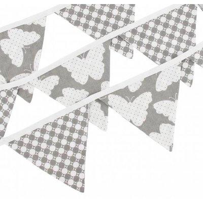Hobea Vlaggenlijn grijs met vlinders