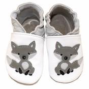 Babyslofjes wit met wolf