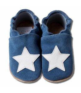 Babyslofjes suede blauw met witte ster (Kruip)
