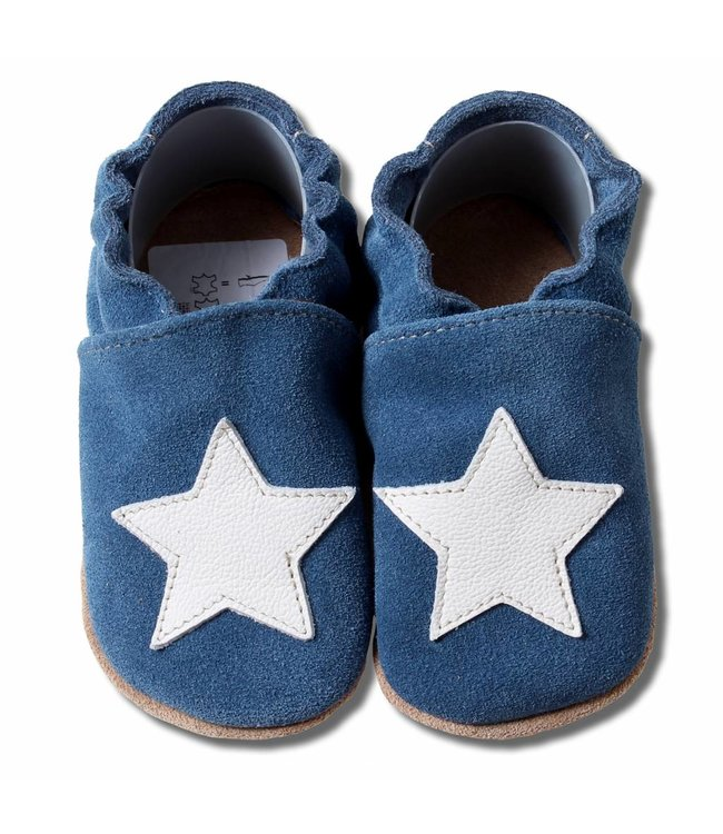 Babyslofjes suede blauw met witte ster