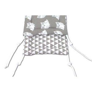 Hoofdbeschermer babybedje uilen grijs