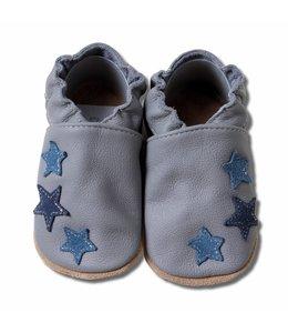 Babyslofjes grijs met blauwe sterren