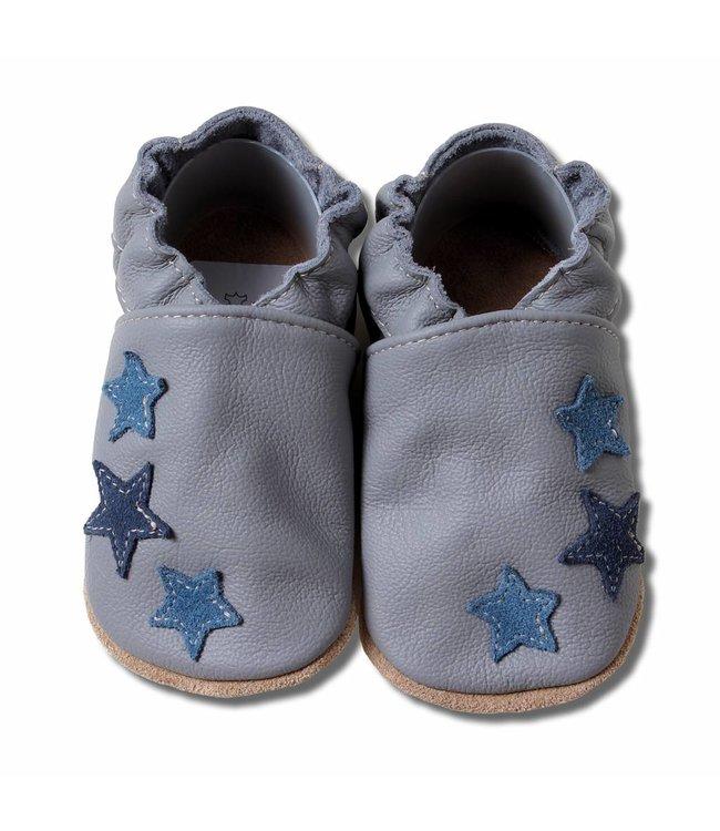 Babyslofjes grijs met blauwe sterren (Kruip)