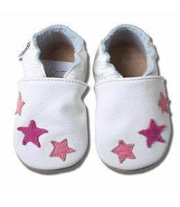 Babyslofjes wit met roze sterren (Kruip)