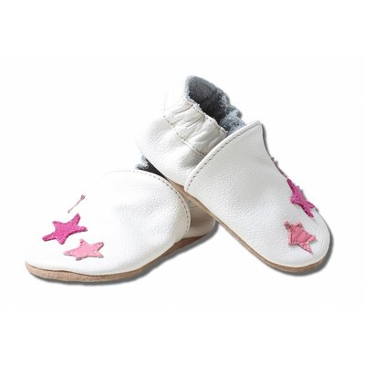 Babyslofjes wit met roze sterren