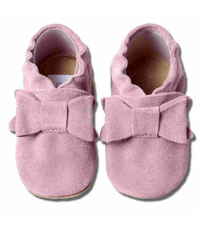 Babyslofjes suede roze met strik