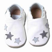 Babyslofjes wit met grijze sterren