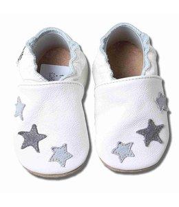 Babyslofjes wit met grijze sterren (Kruip)