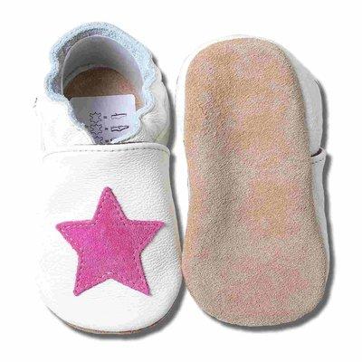 Babyslofjes wit met roze ster