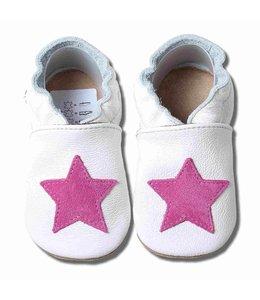 Babyslofjes wit met roze ster (Kruip)