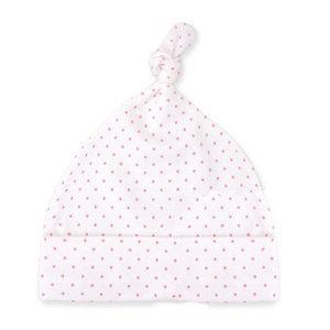 Babymuts wit met roze stipjes