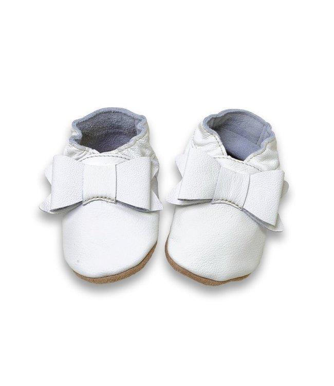 Babyslofjes wit met strik (Kruip)