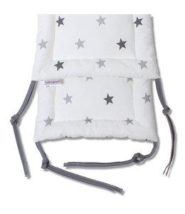 Hoofdbeschermer babybedje wit met grijze sterren