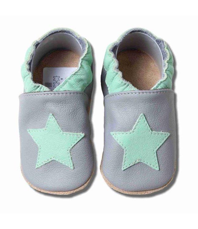 Babyslofjes grijs munt groene ster (Kruip)