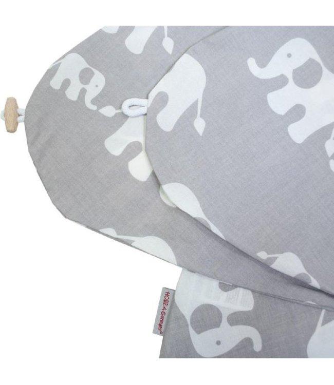 Hoes voedingskussen olifant grijs/wit