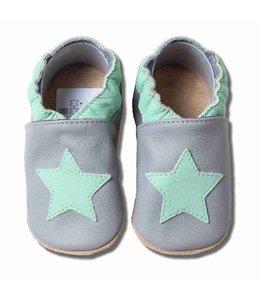 Babyslofjes grijs munt groene ster (Loop)