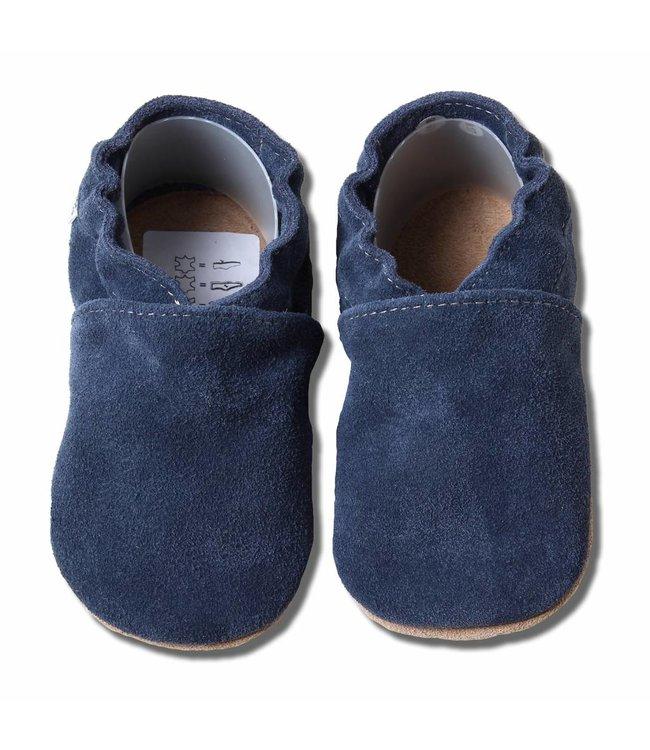 Babyslofjes blauw suede  (Loop)