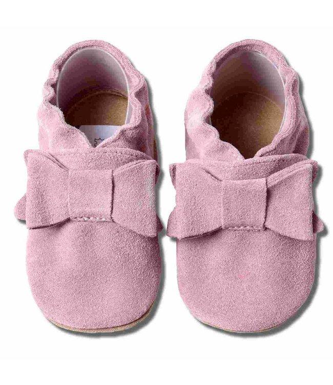 Babyslofjes suede oud roze met strik (Loop)