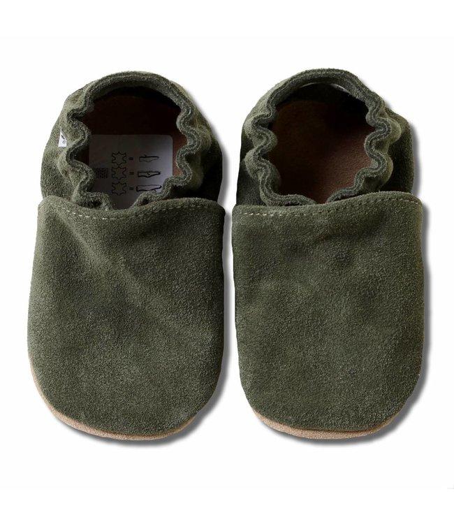 Babyslofjes olijfgroen suede (Loop)