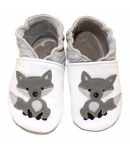 Babyslofjes wit met wolf (Loop)