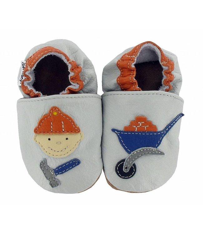 Hobea babyslofje bouwvakker grijs-oranje (kruip)